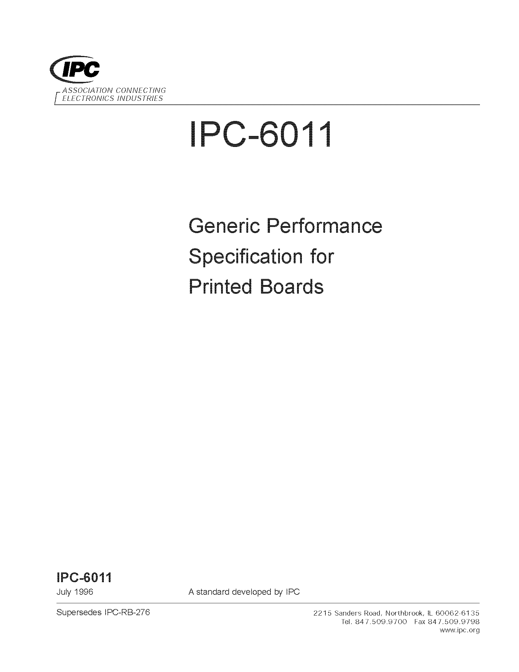 IPC-6011 Generic Performance Specification for Printed Boards (プリント基板の一般要求仕様)