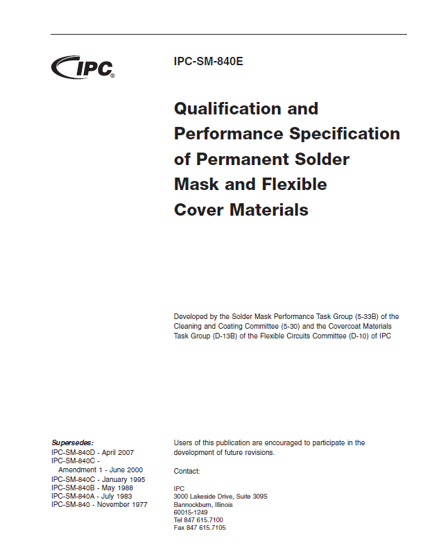 IPC-SM-840E: Qualification and Performance Specification of Permanent Solder Mask and Flexible Cover Materials